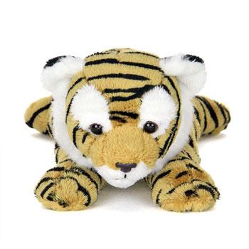 顔が大きい寝そべった虎のぬいぐるみ