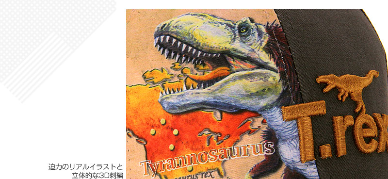 リアル メッシュキャップ 羽毛ティラノサウルス グレー デザイン