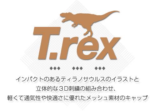 インパクトのあるティラノサウルスのイラストと立体的な3D刺繍の組み合わせ、軽くて通気性や快適さに優れたメッシュ素材のキャップ