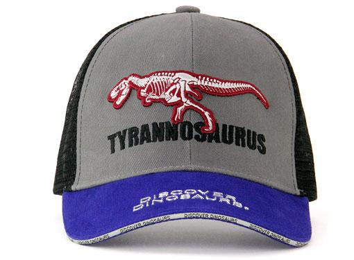 メッシュキャップ ティラノサウルス骨格 グレー&ブルー 正面