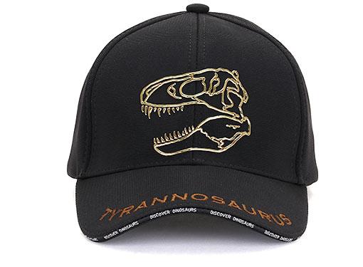 スポーツキャップ ティラノサウルス スカル ブラック 正面