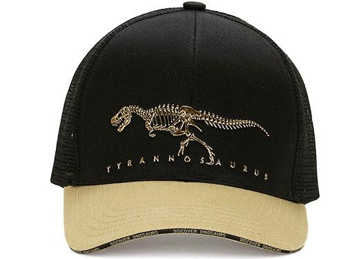 メッシュキャップ ティラノサウルス ボーンズ ブラック&ベージュ 正面