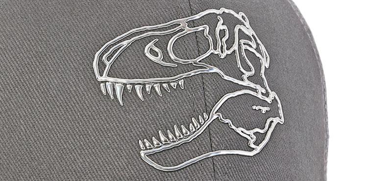 メッシュキャップ ティラノサウルス スカル グレー&ブラック デザイン
