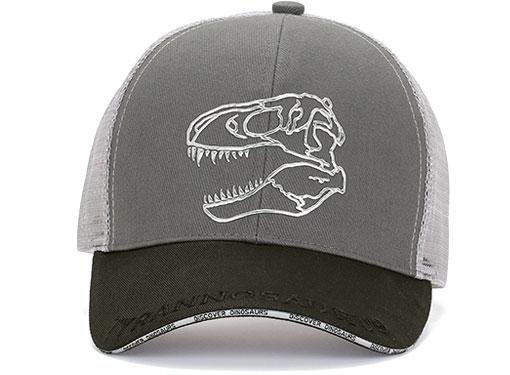 メッシュキャップ ティラノサウルス スカル グレー&ブラック 正面