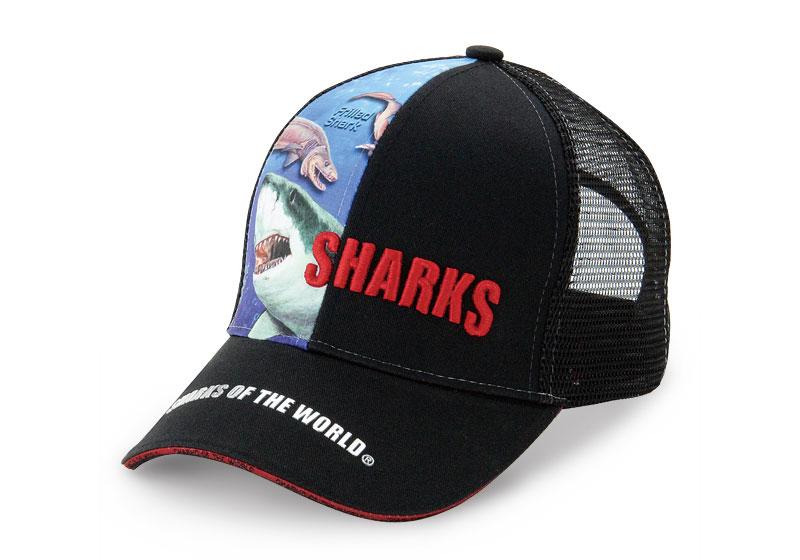 リアル メッシュキャップ ホホジロザメ&ラブカ ブラック