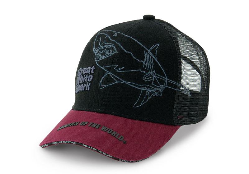 メッシュキャップ ホホジロザメ ブラック&ダークレッド