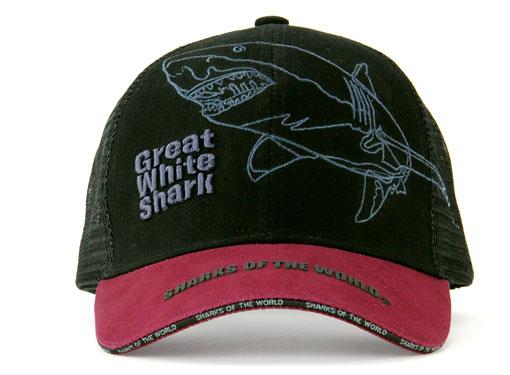 メッシュキャップ ホホジロザメ ブラック&ダークレッド 正面