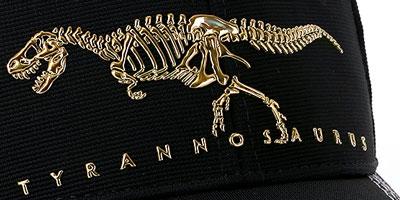 ティラノ全身骨格をメタリックにしたキャップ