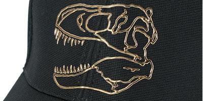 ティラノ頭骨をメタリックにしたキャップ