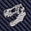 生物・動物・恐竜・アニマル柄ネクタイ ティラノサウルス スカル ストライプ ネイビー&シルバー