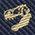 生物・動物・恐竜・アニマル柄ネクタイ ティラノサウルス スカル ストライプ ネイビー&ゴールド