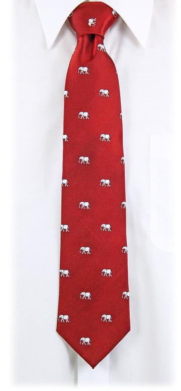 生物・動物・アニマル柄ネクタイ アフリカゾウ ディープレッド