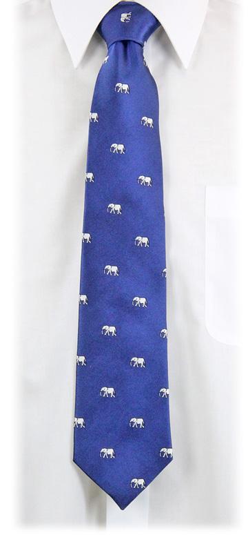 生物・動物・アニマル柄ネクタイ アフリカゾウ ディープブルー