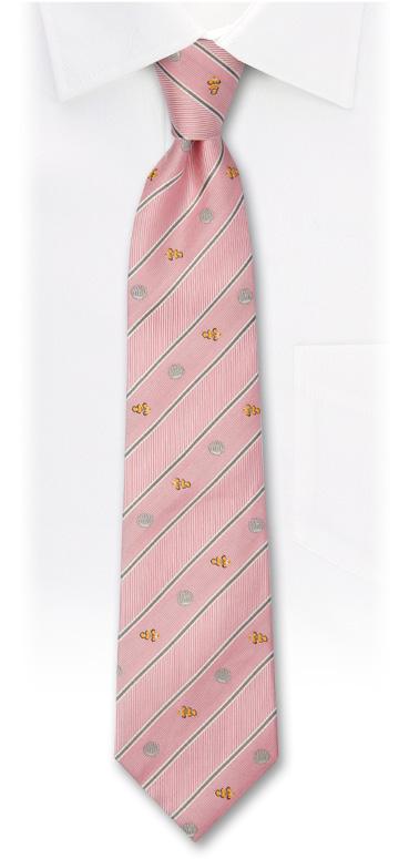 生物・動物・アニマル柄ネクタイ カクレクマノミ ストライプ ピンク