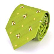 生物・動物・アニマル柄ネクタイ ミツバチ ライトグリーン