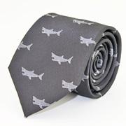 生物・動物・アニマル柄ネクタイ ホホジロザメ ダークグレー