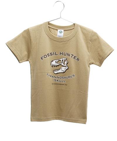 ミュージアムデザイン Tシャツ ティラノサウルス頭骨 カーキ 130サイズ
