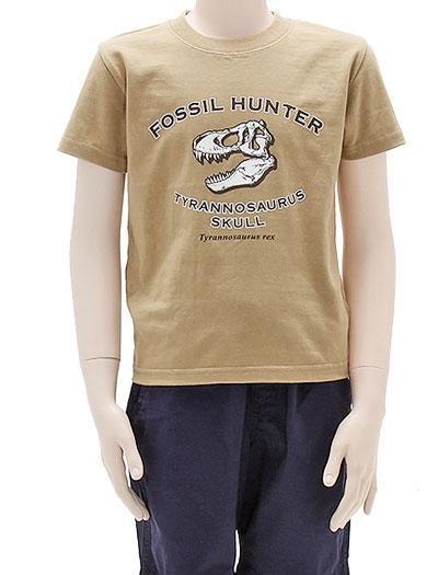 ミュージアムデザイン Tシャツ ティラノサウルス頭骨 カーキ 130サイズ 着用イメージ