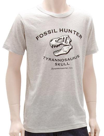 ミュージアムデザイン Tシャツ  ティラノサウルス頭骨 ライトグレー Mサイズ 着用イメージ