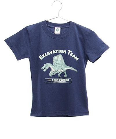 ミュージアムデザイン Tシャツ スピノサウルス ネイビー 130サイズ