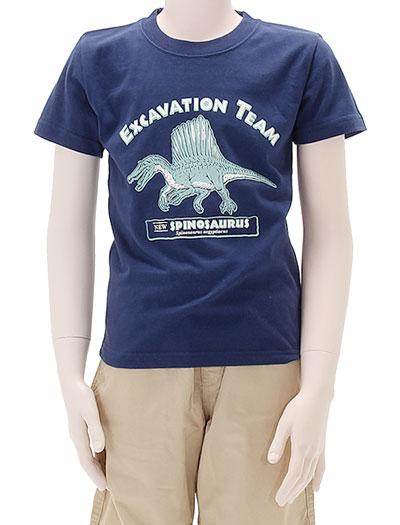 ミュージアムデザイン Tシャツ スピノサウルス ネイビー 130サイズ 着用イメージ