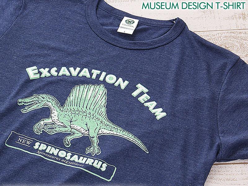 ミュージアムデザイン Tシャツ  スピノサウルス ネイビー M/Lサイズ