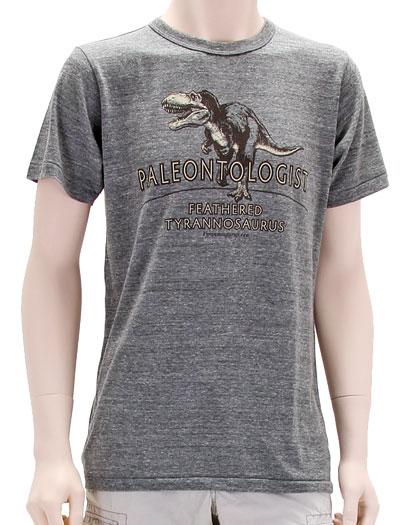 ミュージアムデザイン Tシャツ  羽毛ティラノサウルス グレー Mサイズ 着用イメージ