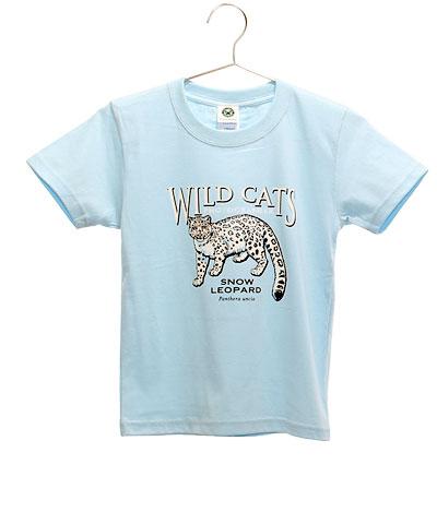 ミュージアムデザイン Tシャツ ユキヒョウ ライトブルー 130サイズ