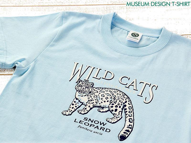 ミュージアムデザイン Tシャツ ユキヒョウ ライトブルー 子供サイズ