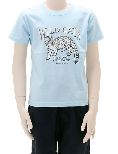 ミュージアムデザイン Tシャツ ユキヒョウ ライトブルー 130サイズ 着用イメージ