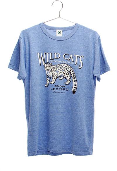 ミュージアムデザイン Tシャツ  ユキヒョウ ブルー Mサイズ