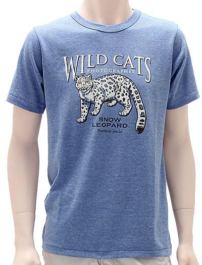 ミュージアムデザイン Tシャツ  ユキヒョウ ブルー Mサイズ 着用イメージ