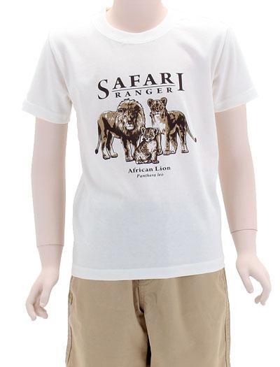 ミュージアムデザイン Tシャツ ライオン親子 オフホワイト 130サイズ 着用イメージ