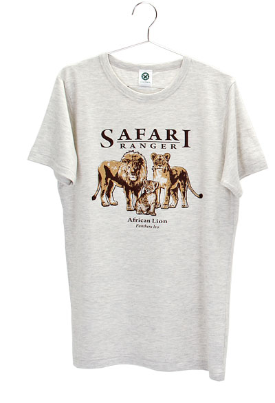 ミュージアムデザイン Tシャツ  ライオン親子 ライトグレー Mサイズ