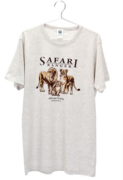 ミュージアムデザイン Tシャツ  ライオン親子 ライトグレー Lサイズ