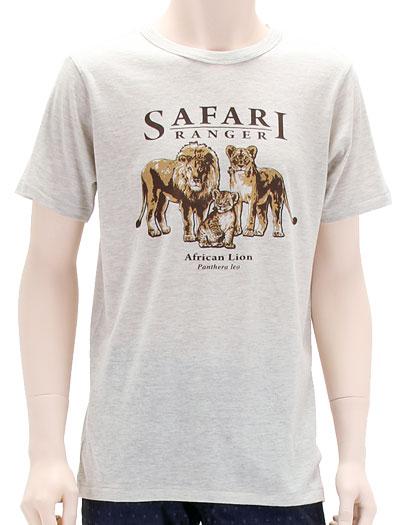 ミュージアムデザイン Tシャツ  ライオン親子 ライトグレー Mサイズ 着用イメージ