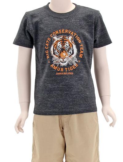 ミュージアムデザイン Tシャツ アムールトラ ブラック 130サイズ 着用イメージ