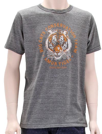 ミュージアムデザイン Tシャツ アムールトラ グレー Mサイズ 着用イメージ