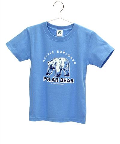 ミュージアムデザイン Tシャツ ホッキョクグマ サックスブルー 130サイズ