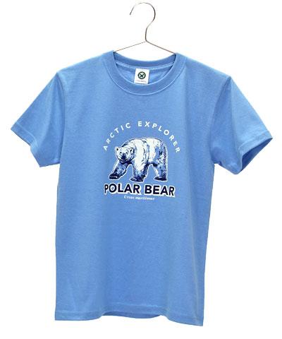 ミュージアムデザイン Tシャツ ホッキョクグマ サックスブルー 150サイズ