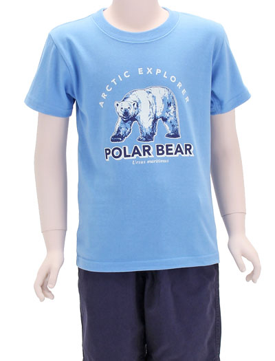 ミュージアムデザイン Tシャツ ホッキョクグマ サックスブルー 130サイズ 着用イメージ