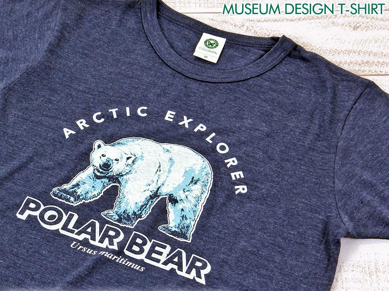 ミュージアムデザイン Tシャツ ホッキョクグマ ネイビー M/Lサイズ