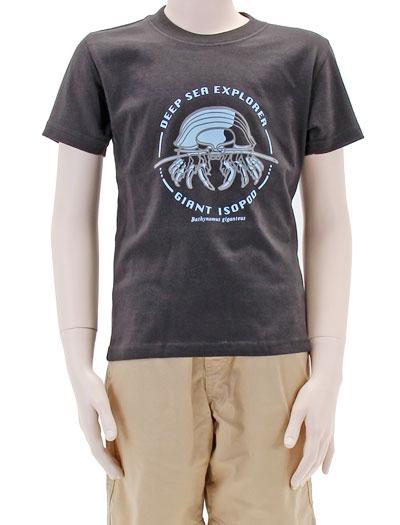 ミュージアムデザイン Tシャツ ダイオウグソクムシ ダークグレー 130サイズ 着用イメージ