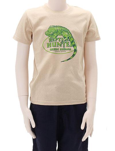 ミュージアムデザイン Tシャツ グリーンイグアナ ベージュ 130サイズ 着用イメージ