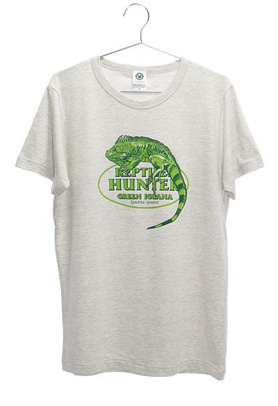 ミュージアムデザイン Tシャツ  グリーンイグアナ ライトグレー Mサイズ