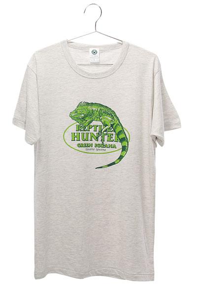 ミュージアムデザイン Tシャツ  グリーンイグアナ ライトグレー Lサイズ