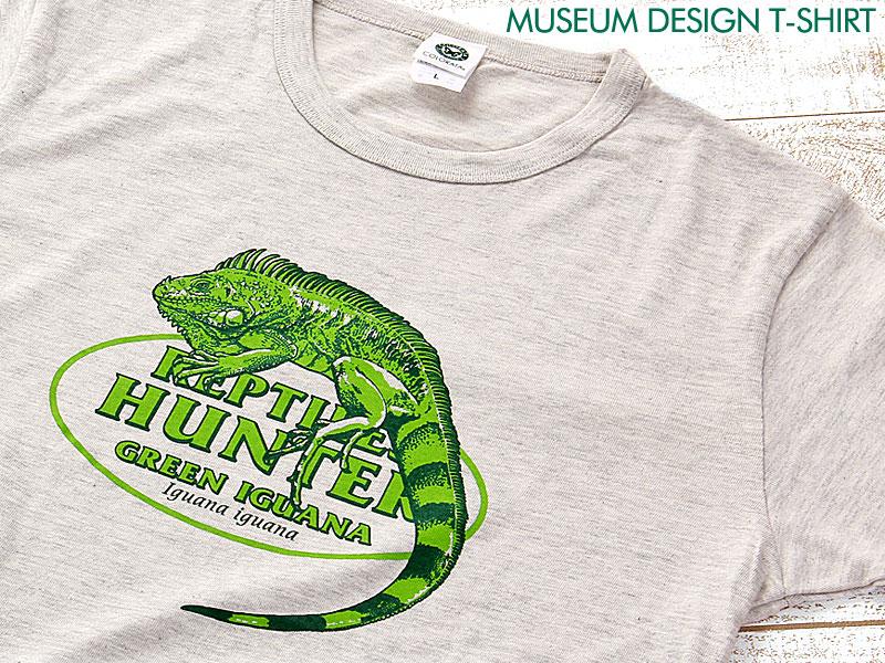 ミュージアムデザイン Tシャツ  グリーンイグアナ ライトグレー M/Lサイズ