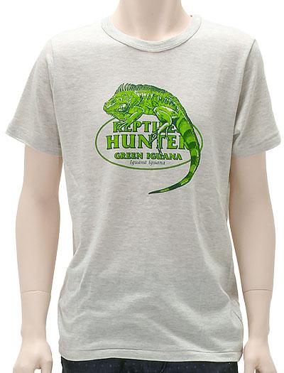 ミュージアムデザイン Tシャツ  グリーンイグアナ ライトグレー Mサイズ 着用イメージ