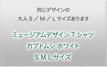 ミュージアム デザイン Tシャツ カブトムシ(日本) ホワイト S/M/Lサイズ