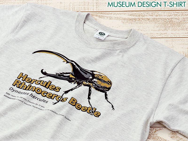 ミュージアムデザイン Tシャツ ヘラクレスオオカブト ライトグレー S/M/Lサイズ